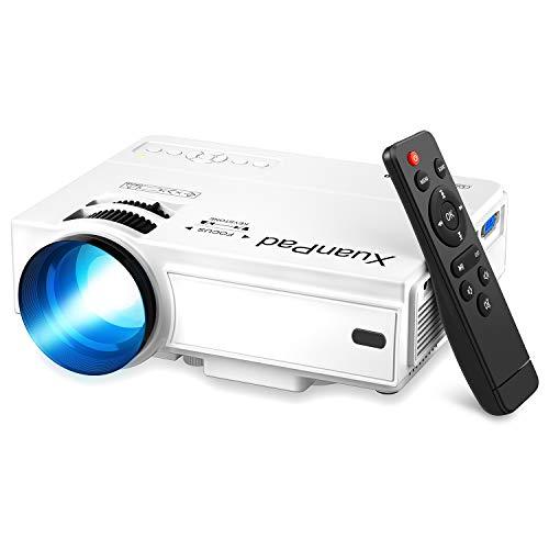 XuanPad Proiettore, 2020 Aggiornato Videoproiettore Portatile Mini Proiettore, 55000 ore Home Theater Proiettori Compatibile con Full HD 1080P HDMI, VGA, USB