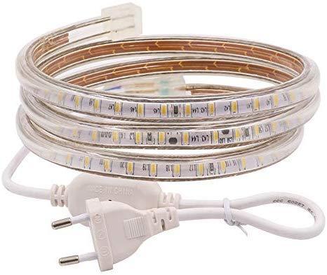 XUNATA Striscia LED AC 220 V 230 V IP67 3014 SMD 120 LED, con spina di alimentazione, decorazione per cucina, scale, casa, Bar, Natale Party, bianco caldo, 5m