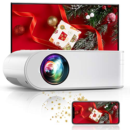 YABER Proiettore WiFi, 5800 Lumens Mini Videoproiettore Portatile 1080P Full HD[Schermo proiezione incluso]Mini Proiettore Wireless Home cinema Portatile (Weiß)
