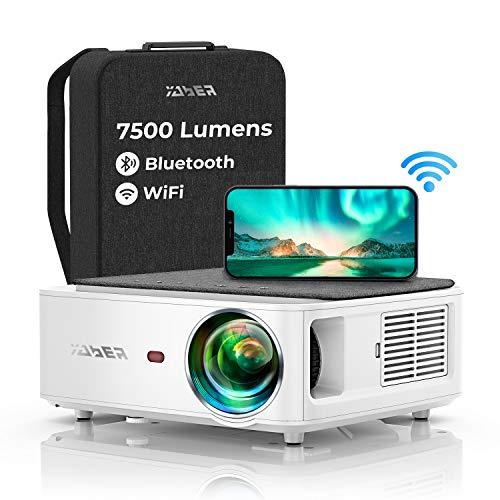 YABER Proiettore WiFi, 7500 Lumens Bluetooth Videoproiettore 1080P Proiettore Full HD Supporto 4K[Borsa per proiettore incluso]4-punti Keystone Correction&Zoom digitale Home Cinema per iOS/Android/PPT