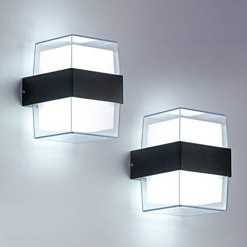 Yafido 2pcs 12W LED Applique da Parete Esterno 6000K Bianco Freddo IP65 impermeabile acrilico 960LM per giardini, patii, pareti esterne. Dimensione totale: 105*90*130mm