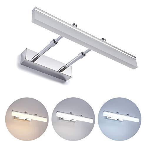 Yafido 8W LED specchio luce bagno con telecomando (3000K-7000K) 700Lm 230V LED Dimmerabile Lampada da parete interni Specchio IP44 resistente IP44 AC 110-265V Dimensioni: 400 * 250 * 55mm
