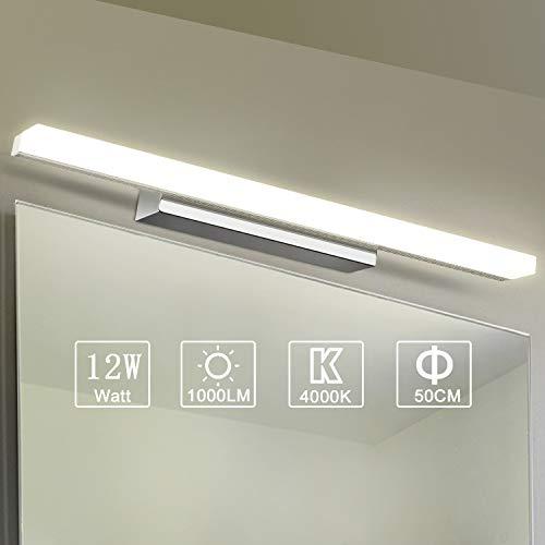 Yafido Applique da bagno LED 50CM Lampada Specchio Bagno Interno Moderno Bagno Luce per Trucco 12W Bianco Neutro 4000K 1000LM Non-dimmerabile
