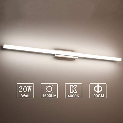 Yafido Applique da bagno LED 90CM Lampada Specchio Bagno Interno Moderno Bagno Luce per Trucco 20W Bianco Neutro 4000K Non-dimmerabile