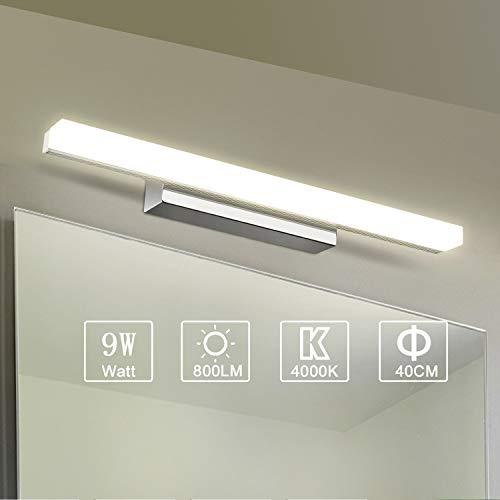 Yafido Applique da bagno LED Lampada Specchio Bagno Interno Moderno Bagno Luce per Trucco 9W Bianco Neutro 4000K 800LM 40CM Non-dimmerabile