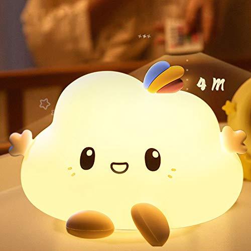 Yafido Dimmerabile Piccola luce notturna nuvola Telecomandata con Funzione di Memoria e Timer USB Luce notturna per bambini Lampada touch in silicone per camera dei bambini, soggiorno, corridoi