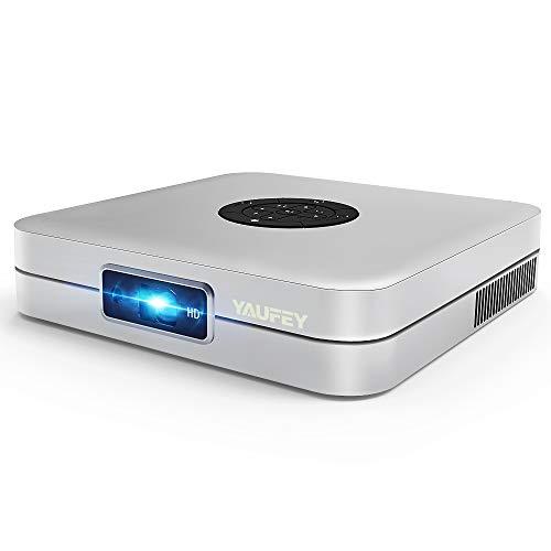 Yaufey Mini DLP Proiettore, 4000 Lumen Videoproiettore, Con 6.0 sistema Android, Supporta Wifi / USB / Bluetooth, LED fino 45000 Ore Pico Proiettore Full HD 1080P Home Cinema - con treppiede