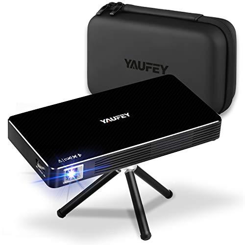 Yaufey Mini Proiettore Portatile DLP, LED Videoproiettore Tascabile con Batteria, incorporato Sistema Android Supporta Wifi, dispositivi HDMI USB TF (borsa per il trasporto e treppiede Incluso)