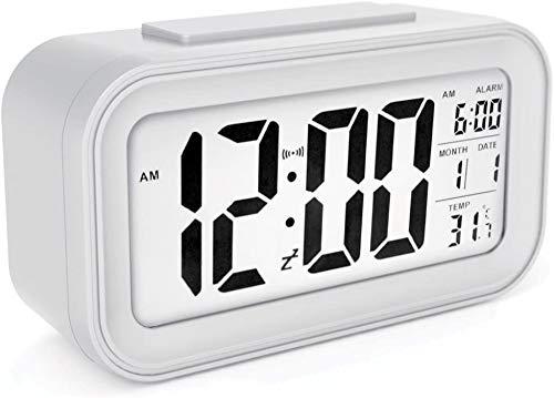 YIQI Sveglia Digitale a Batteria a Batteria con Data, Temperatura, sensore Luminoso Intelligente, 12/24 Ore, Snooze per camere da Letto, Bambini 5,31 x 2,95 x 1,77 Pollici (Bianco)