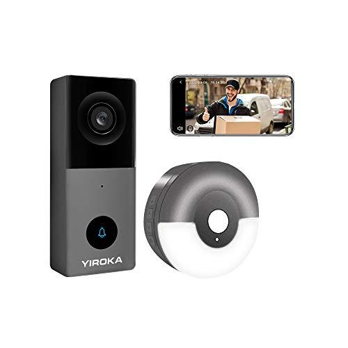 YIROKA Videocitofono Wi-Fi di Sicurezza (Cablato: AC/DC 12-24V, 1A), 2K HD Smart Camera Campanello, Audio a 2 Vie, Rilevamento PIR, Cloud e Micro-SD Fino a 128GB, con Ricevitore Micro-USB