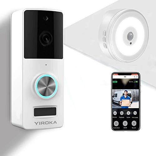 YIROKA Videocitofono WiFi di Sicurezza, Campanello per Videocamera Batteria Senza Filli 1080P HD, Audio a 2 Vie, Impermeabile IP65, Rilevamento PIR, Grandangolo 166°, con Ricevitore per Luce Notturna
