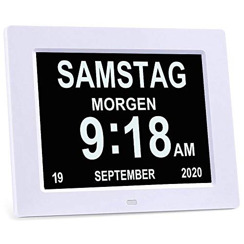 YKal Orologio da Giorno con Calendario Digitale, con Ampio Display di Giorno e Data, da Appendere alla Parete o da scrivania/mensola, Ideale per Visione compromessa e Perdita di Memoria (Bianca)