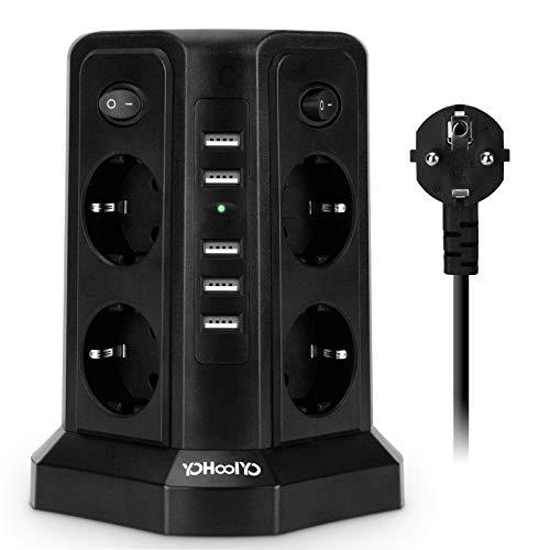 YOHOOLYO Multipresa Verticale Torretta Multipresa, 8 Prese e 5 Porte di Carica USB, Protezione da Sovraccorrente, 2500W, Prolunga 2.5m, 4 Interruttori Indipendenti