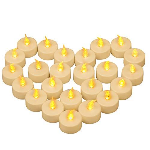 Yooyee Candele a LED 24 pezzi Lumini da Tè Candela Senza Fiamma Tremolante Giallo Caldo Candela da Tè Candele Elettriche a Batteria per Decorazione di Casa Festa Halloween Natale (Giallo Ambra)