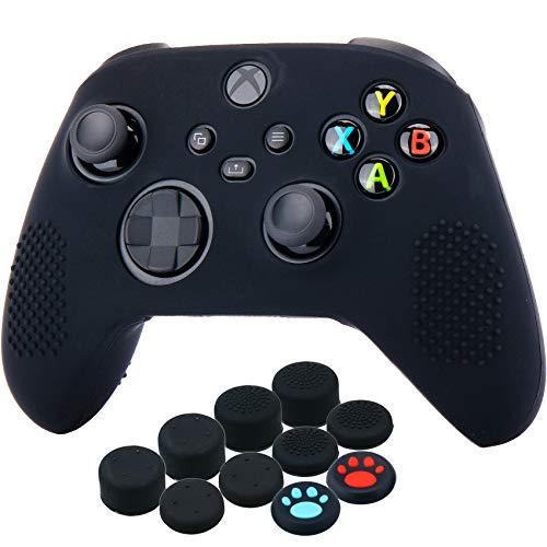 YoRHa Custodia in Silicone Cover Skin per Xbox Series X/S Controller (Nero) x 1 con Copri levette Analogiche x 10