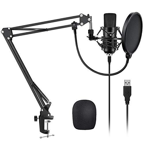 YOTTO USB Microfono a Condensatore Kit 192kHZ/24bit Microfono di Registrazione per Computer PC YouTube con Filtro Antipop, Supporto Regolabile, Ragno Anti Shock, Filtro Anti-Vento, Attaches de câble