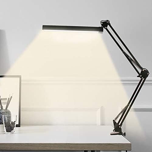YOUKOYI LED Lampada da Tavolo Dimmable con Morsetto Eye-Care Lampada da scrivania Continua Modi di 3 Colori