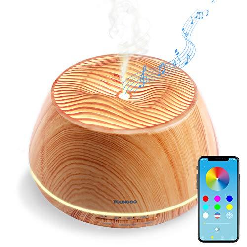 YOUNGDO 400ml Diffusore di Oli Essenziali con V4.2 Altoparlante Stereo Bluetooth, Aroma ad Ultrasuoni con Bluetooth e App, Design Olimpo Umidificatore 8 Colori LED Selezionabili (Olimpo)