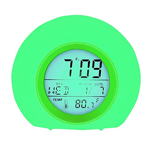 YUES Kids Alarm Clock,LED Bedside Clock with Wake-up Light 7 Colors,7 Natural Alarm Sounds,Snooze Function,Backlight,Temperature And Calenda