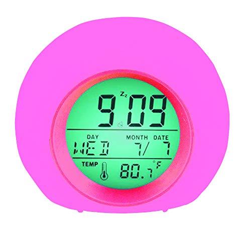 YUES Sveglia Digitale,Allarme LED Sveglia,Wake-up Light per Bambini con 7 Colori,Intelligente Suoni Naturali con Tempo 12/24 Ore,Data,Temperatura,Snooze,Rosa