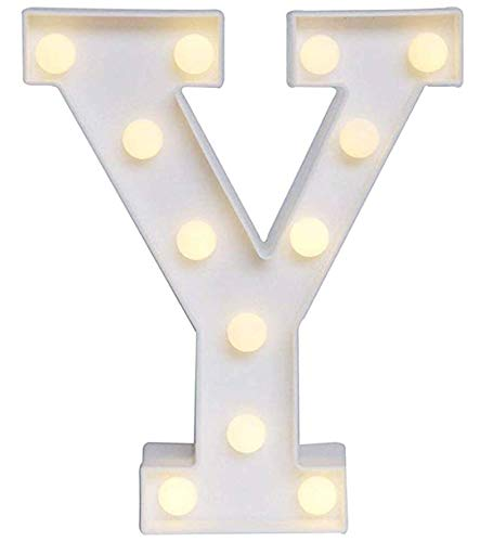 Yuna Lettere Luminose LED Lettere Decorative a LED Lettere dell'alfabeto Bianco (Y)