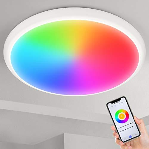 """YUNLIGHTS - Plafoniera a LED RGB da 12"""", 24 W, con telecomando Alexa e Google Home & WiFi, IP54 RGB dimmerabile, per camera da letto, bagno, soggiorno"""
