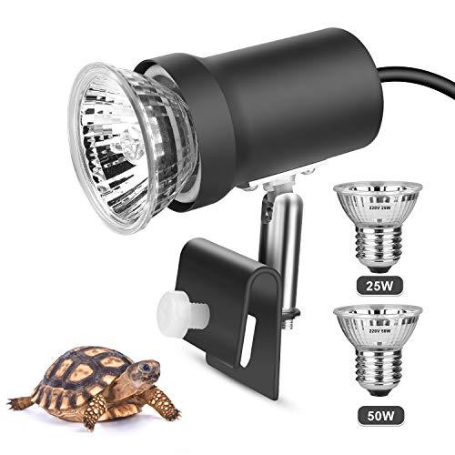 Zacro Tartaruga Illuminazione,UVA(25W) UVB(50W) Lampada,con portalampada Metallica Rotante a 360°,Lampada riscaldante in Contenitore di Vetro per rettili e Anfibi