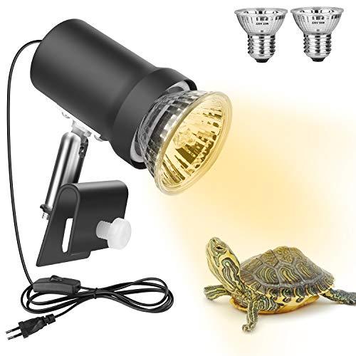 Zacro Tartaruga Lluminazione,UVA(25W) UVB(50W) Lampada,con Portalampada Metallica Rotante a 360°,Lampada Riscaldante in Contenitore di Vetro per Rettili e Anfibi