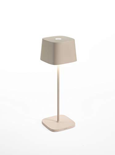 Zafferano Ofelia Lampada LED Dimmerabile da Tavolo, Uso Interno/Esterno, Caricatore Micro USB, H30 cm, Protezione IP65, 2.2 W, Sabbia