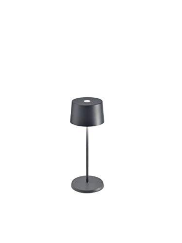 Zafferano - Olivia Mini Lampada LED Dimmerabile da Tavolo, Protezione IP65, Uso Interno/Esterno, Caricatore Micro USB, H30cm, Plug EU, 2,2W - Grigio scuro