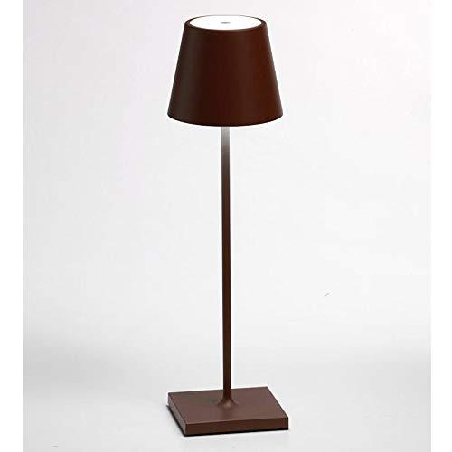 Zafferano Poldina Lampada LED Ricaricabile da Tavolo, Regolabile, Corpo in Alluminio, Protezione IP54, Adatto per Uso Esterno/Interno, Spina EU 2.2 W, Corten, 38 cm