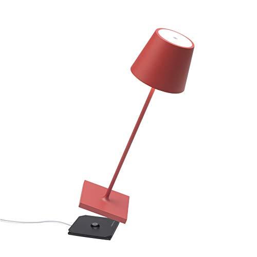 Zafferano - Poldina Pro Lampada LED Dimmerabile da tavolo in alluminio, Protezione IP54, Uso Interno/Esterno, Base di ricarica a contatto, H38cm, Plug EU - Rosso
