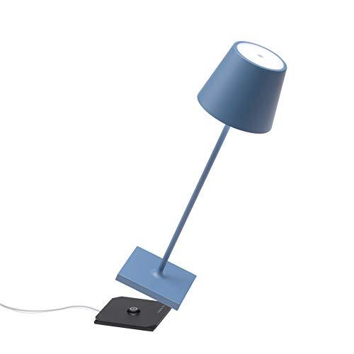 Zafferano - Poldina Pro Lampada LED Dimmerabile da tavolo in alluminio, Protezione IP54, Uso Interno/Esterno, Base di ricarica a contatto, H38cm, Plug EU - Blu