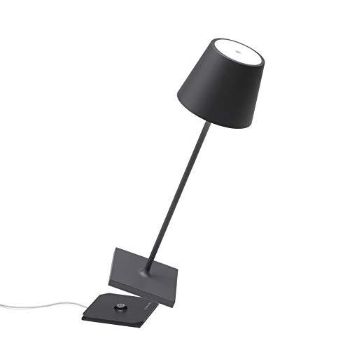 Zafferano - Poldina Pro Lampada LED Dimmerabile da tavolo in alluminio, Protezione IP54, Uso Interno/Esterno, Base di ricarica a contatto, H38cm, Plug EU - Grigio scuro