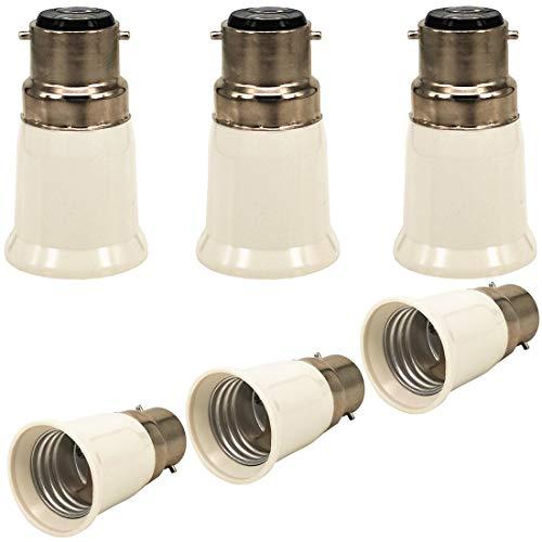 ZDCDJ, adattatore B22 da B22 a E27, adattatore per attacco lampadina B22 a E27, per lampadine a incandescenza, LED, alogene, a risparmio energetico