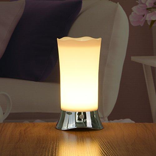 ZEEFO Lampade Luce Notturna da Tavolo LED Senza Fili PIR con Sensore di Movimento, Luce Portatile da Interni ed Esterni Alimentazione a Batteria con Sensore di Movimento(Argento)