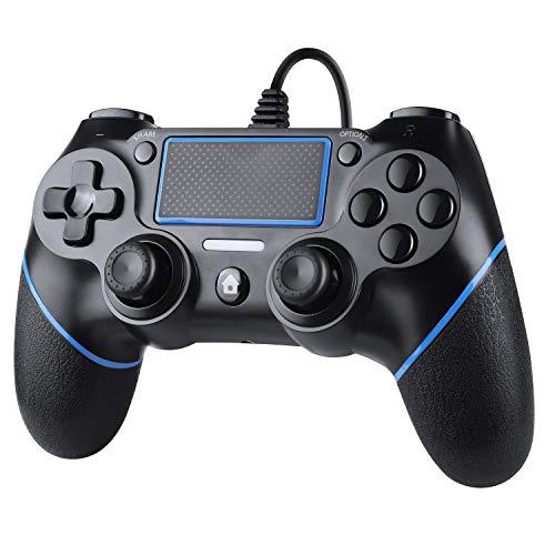 Zexrow Wired Controller per PS4, Wired Game Controller per PlayStation4/Pro/Slim/PC, Gamepad con doppia vibrazione, impugnatura antiscivolo e cavo USB da 2,1 m