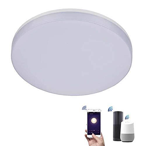 ZEYUN Wifi 24W Smart Lampada da soffitto a LED, 2000LM dimmerabile, compatibile con Alexa & Google, comando App/controllo vocale, Ø 30 cm, IP54 impermeabile, Bianco