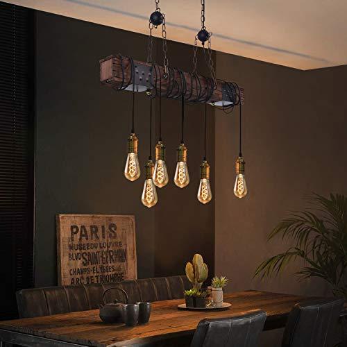 ZMH Lampada a sospensione vintage lampada a sospensione da tavolo da pranzo lampada a sospensione retrò con 80 cm travi in legno a 6 fiamme E27 industriale per sala da pranzo cucina soggiorno bar
