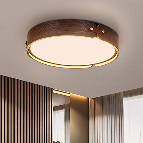 ZMH Plafoniera a LED in legno soggiorno lampada da soffitto vintage lampada da soggiorno rotonda in legno di noce 26W Ø42CM 2080 lumen 3000K luce bianca calda, camera da letto, sala da pranzo