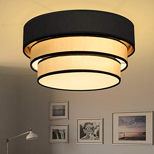 ZMH Plafoniera in tessuto, Lampada da soffitto diametro 40cm color crema e nero attacco per 2 lampadine E27 non incluse, Lampadario moderno per salotto o camera da letto, IP20