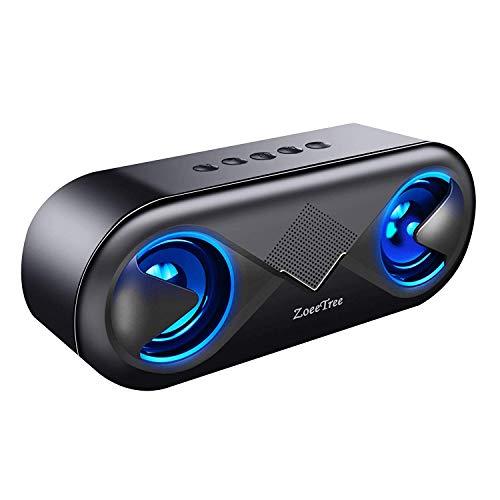 ZoeeTree Altoparlante Bluetooth, Casse Bluetooth 5.0 con Luci LED e 24H Playtime, Cassa Bluetooth Portatile con Microfono Integrato e Bassi Potenti, Altoparlante Supporto Chiavetta USB, Scheda TF, AUX