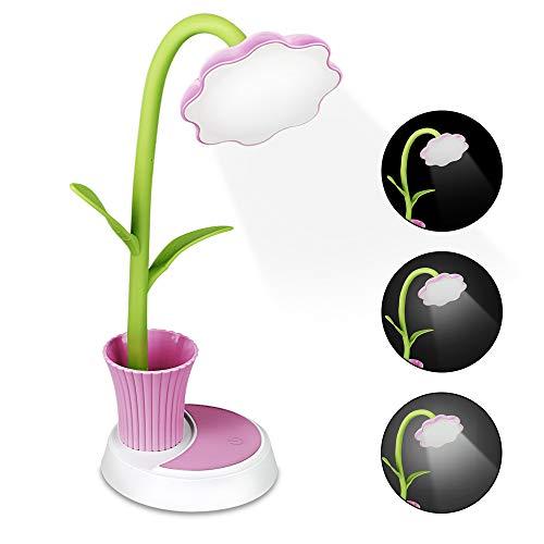 Zorara Lampada da Scrivania a Led, Lampada da Tavolo Protezione Degli Occhi, Lampada per Ufficio con 3 Livelli di Luminosità e Controllo Touch (Rosa)