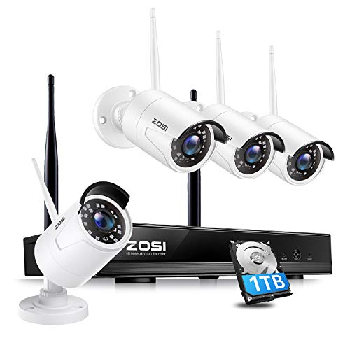 ZOSI 1080P H.265+ Kit Videosorveglianza Wifi 8 Canali con Hard Disk da 1 TB Per 4 telecamere IP Per Esterni Kit Telecamera di Sicurezza Wireless 2.0MP Facile Accesso Remoto Tramite Allarme di Movimento