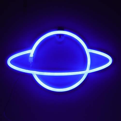 ZWOOS Insegne Luminose per Camera da Letto - Insegna al Neon LED alimentata a Batteria o USB - Lampe Neon per Natale, Feste, Bar - Blu Moderno
