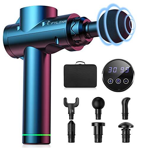 2021 Upgrade COULAX - Pistola massaggiante elettrica per massaggi muscolari con 30 velocità, dispositivo di vibrazione e 6 testine massaggianti, colore nero