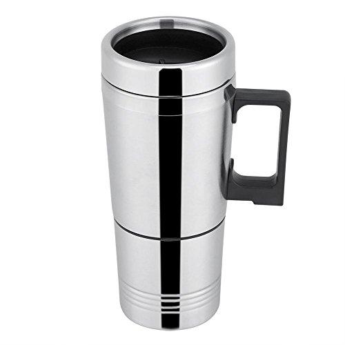 300ml Tazza Riscaldamento per Auto Acciaio Inossidabile Car Kettle Bollitore Elettrico per Acqua Tazza Caffè Riscaldante Bottiglia D'acqua Viaggio Teiera per Campeggio Picnic Pesca (24V)
