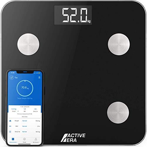 Active Era® Bilancia Impedenziometrica Intelligente - Bilancia pesapersone digitale Bluetooth con 15 funzioni essenziali, Peso corporeo ad alta precisione e App gratuita