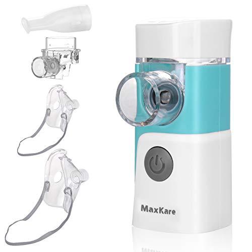 Aerosol Nebulizzatore Portatile e Inalatore Silenzioso con 2 Mascherine e 1 Ugello,per i Adulti e Bambini, Trattamento Efficace delle Malattie Respiratorie, Ricaribile USB Atomizzatore Elettronico