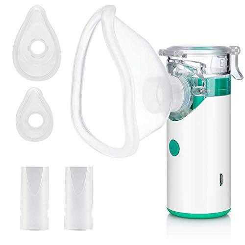 Aerosol Ultrasuoni Silenzioso Nebulizzatore Portatile, Inalatore Silenzioso USB Atomizzatore Elettronico Macchina Umidificatore Portatile per Bambini Adulti Problemi Respiratori